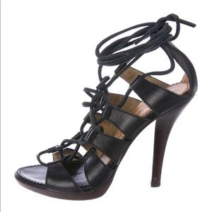 Authentic YSL Leather Cage Sandals